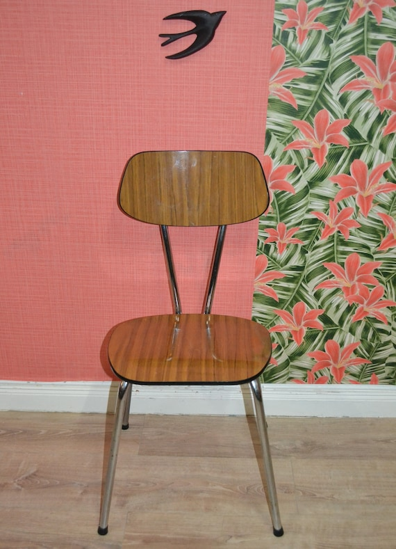 Cucina sedia 60s sedia cromo ottica legno formica