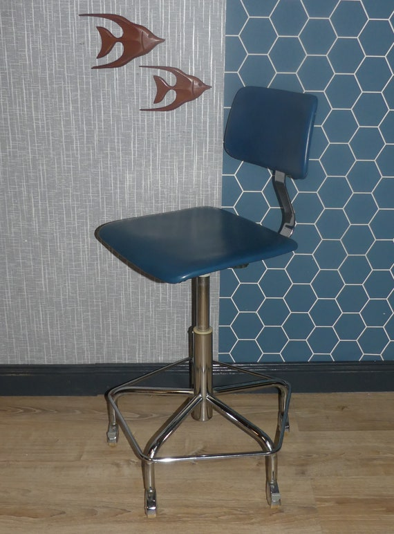 Amazing 60S Office Chair Bremshey Design Swivel Chair Swivel Foot Faux Leather Blue Height Adjustable Rollable Machost Co Dining Chair Design Ideas Machostcouk