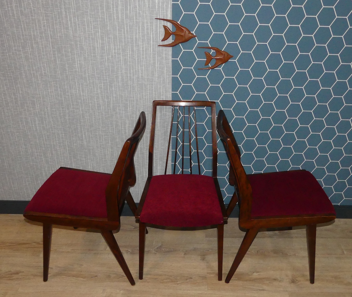 60s chair Casala dining room chair sprout chair seat red re-covered Chair 2xerh.