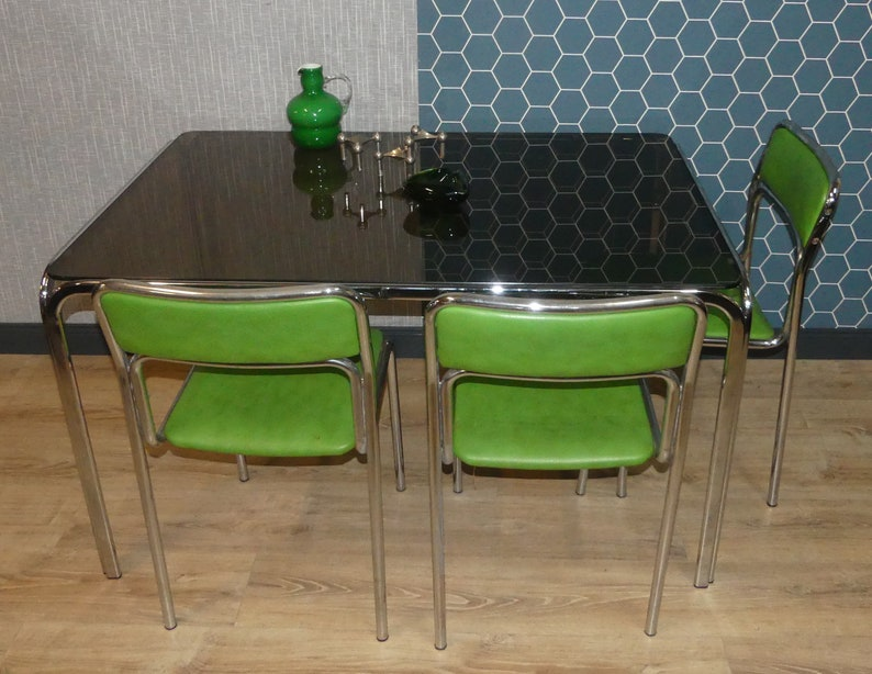 Fantastic Table 70S Dining Table Tinted Glass Chrome 128X83 Panton Era Space Age Cjindustries Chair Design For Home Cjindustriesco