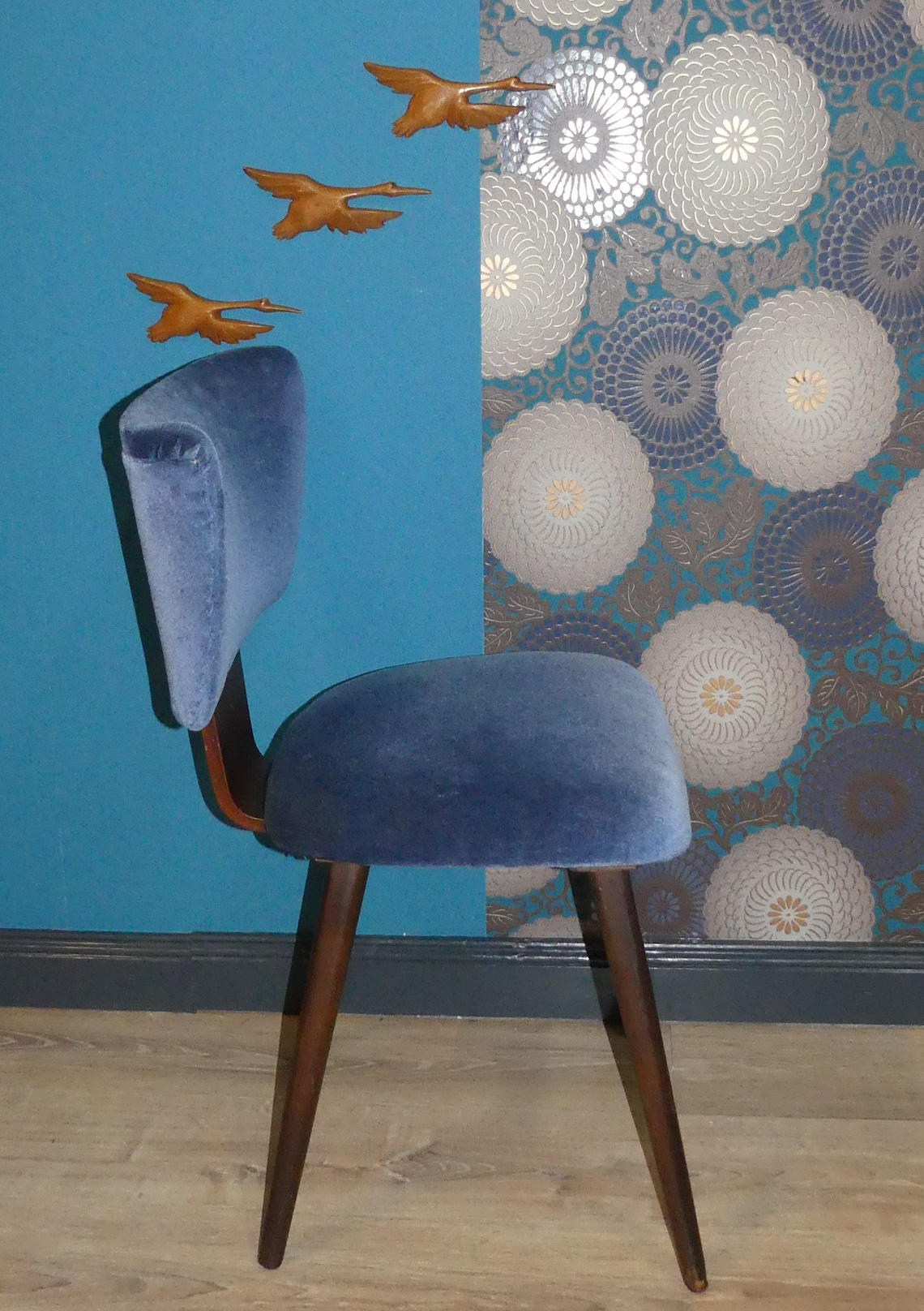 60s dining chair upholstered chair blue velvet chair 1 of 3 Netherlands
