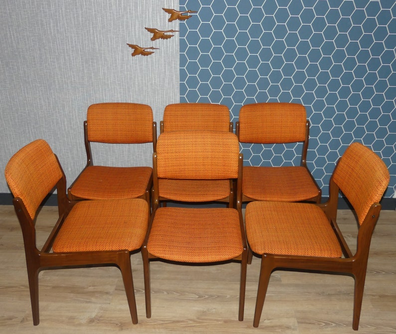 60s chair Danish design style stable ORANGE 1 of 6 dining room chair