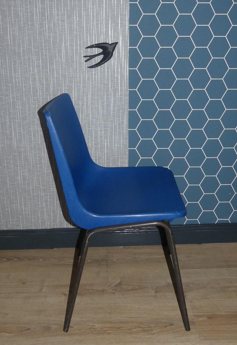 4 Plastic Stacking Chairs 70s Schroeder /& Henzelmann-Vlotho-Uffeln Blue Chair