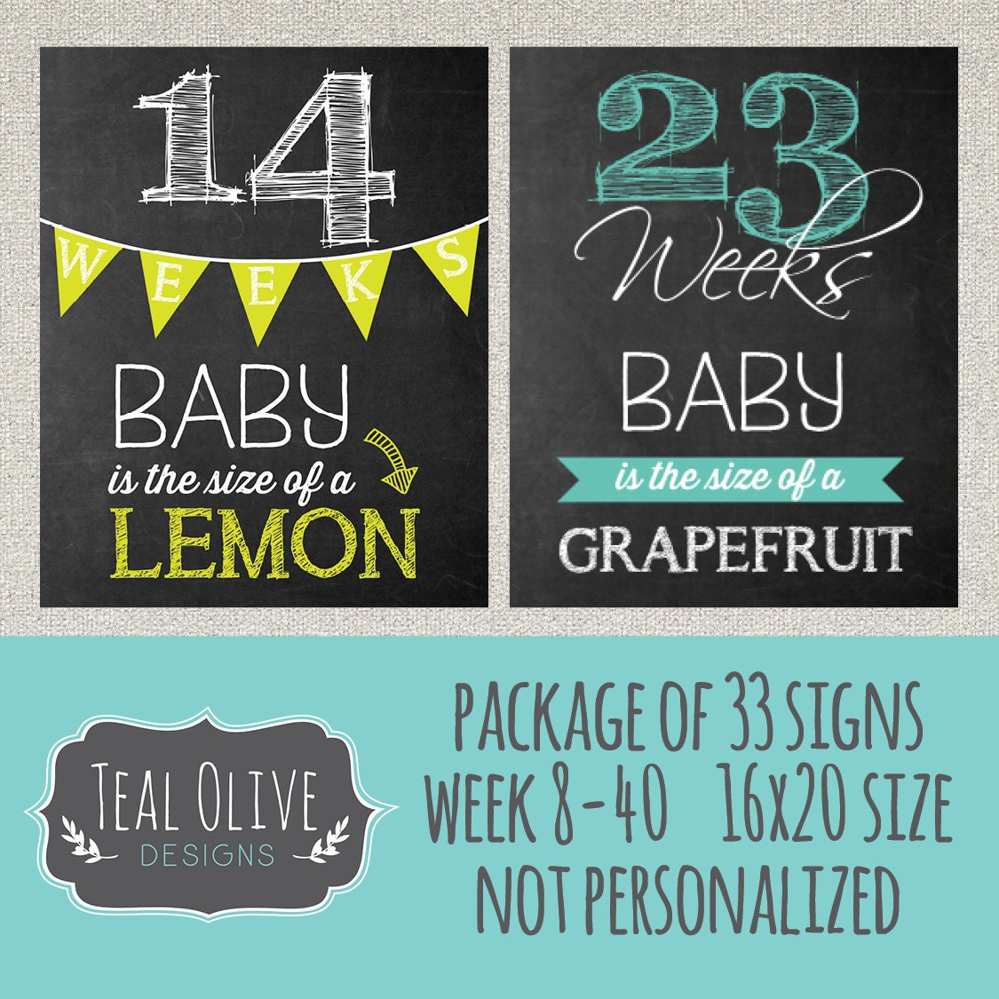 Semana embarazo pizarra cartel semana 8-40 paquete oferta 33