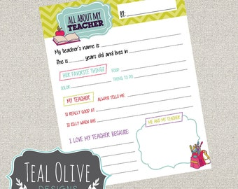 All About My Teacher Questionnaire Printables | Teacher Appreciation Week Questionnaire |  DIY Printable | Instant Download