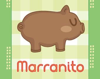 "Pan Dulce Pals: Marranito 4""x6"" art print"
