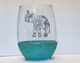 Mandala Elephant Glitter Stemless Wine Glass