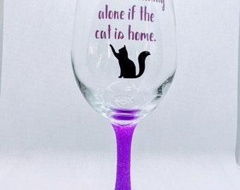 Friends Gift Wine Drinker Wine Lover Birthday Gift Christmas Gift Cat Moon Halloween Glitter Stem Wine Glass