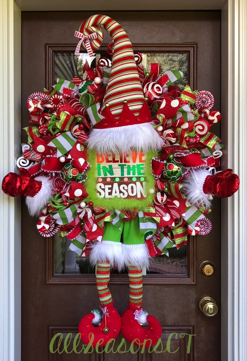 Red White Swirl Striped Santa Hat Peppermint Candy Cane Christmas Elf Mrs Claus