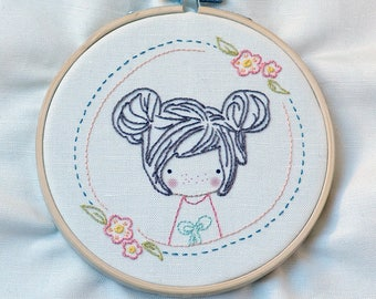 Girl, Hand Embroidery PDF Pattern - Instand Digital Download // Hand Embroidery Design // Embroidery Design // Needlecraft design - 108