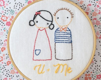 U + Me sweet couple, Hand Embroidery PDF Pattern - Instand Digital Download // Hand Embroidery Design // Needlecraft design // #103