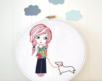 Little girl with dog, Hand Embroidery PDF Pattern - Instand Digital Download