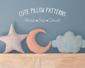 "Moon - Star - Cloud Pillow Sewing Pattern in 2 sizes (13"" and 18"") // Toy Pattern // Easy Sewing Pattern // Instant Download // PDF"