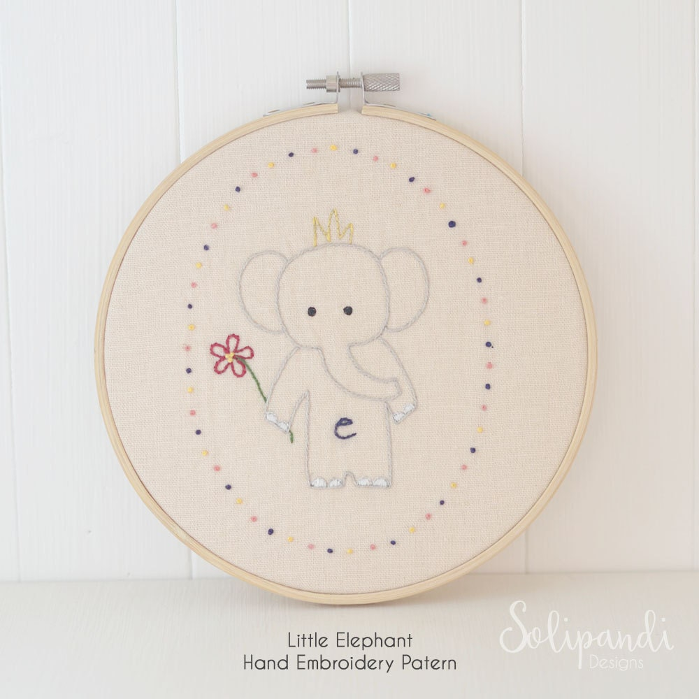 Little Elephant Hand Embroidery Pdf Pattern Instand Etsy Origami Mouse Diagram