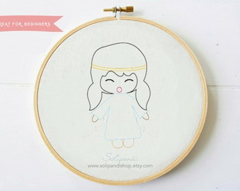 Singing Angel // Hand Embroidery Design PDF Pattern - Instand Digital Download // Great for Beginners // Easy pattern // Solipandi #101