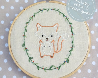 Little Fox, Hand Embroidery PDF Pattern - Instand Digital Download // Hand Embroidery Design // Nursery Art // Needlecraft design