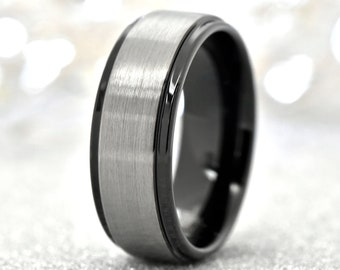 Gun Metal Grey Beaded Custom Orders Available Size 10 MAN RING Fathers Day - Totally unique and different for the man in your life