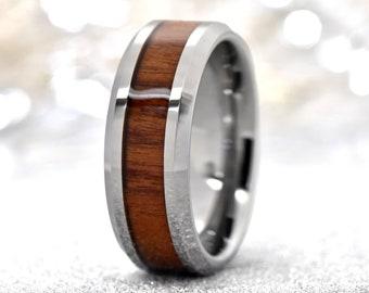 Wood Ring, Mens Wedding Band Wood, Mens Tungsten Mahogany Wood Inlay Band, Men's Wedding Ring Wood, Tungsten Wood Ring, Mens Promise Ring