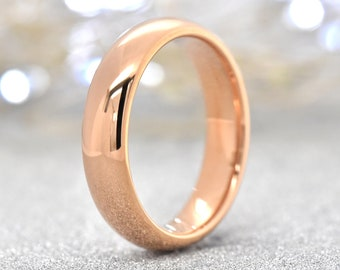 Rose Gold Wedding Band 5mm Tungsten Wedding Ring Mens Wedding Band Womens Rose Gold Wedding Band Anniversary Engagement Promise Gift Jewelry