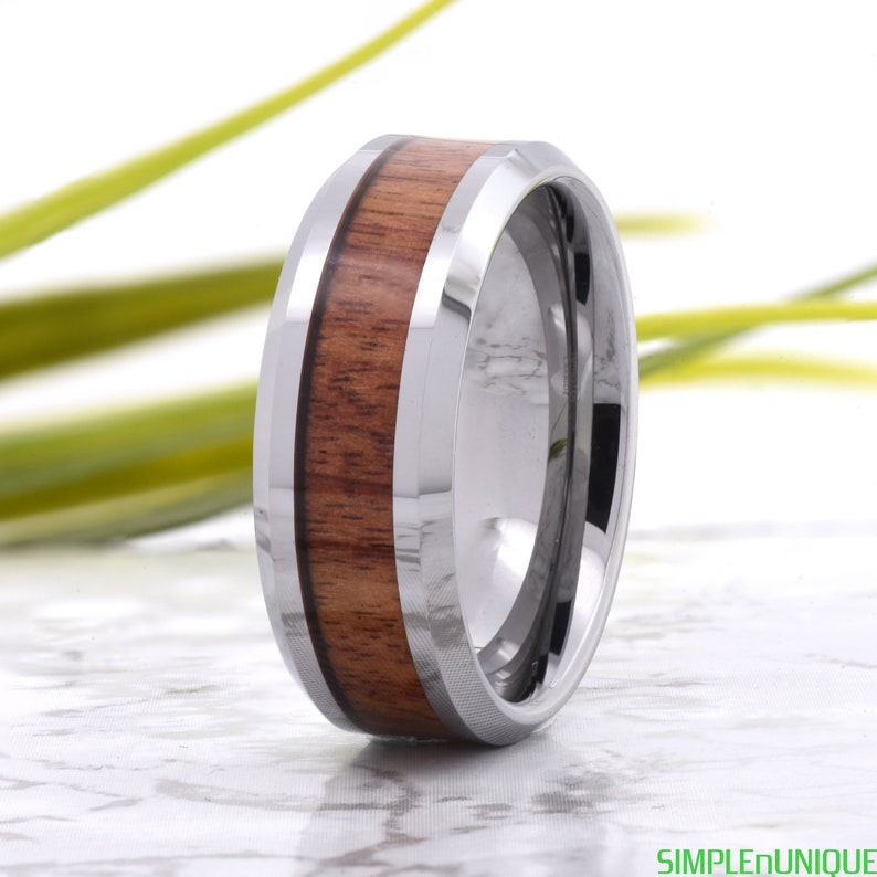 Mens Wedding Band Wood Mens Tungsten Promise Ring Engraved Mahogany Wood Inlay Mens Wood Wedding Band Wood Ring Mens Wedding Band Wood