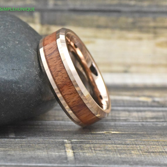 Rose Gold Wood Wedding Band Mens Mens Rose Gold Wedding Band Etsy