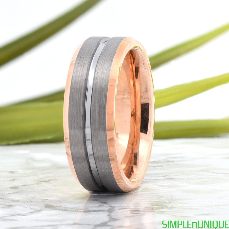 dff671a1a721f Rose Gold Mens Wedding Band, Mens Tungsten Wedding Ring Silver, Tungsten  Ring, Engagement Ring, Promise Ring for Him, Personalized Gift ring