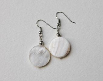 d9f99a6e3 White Shell Earrings, Round shell earrings, Flat white shells, Beach Jewelry