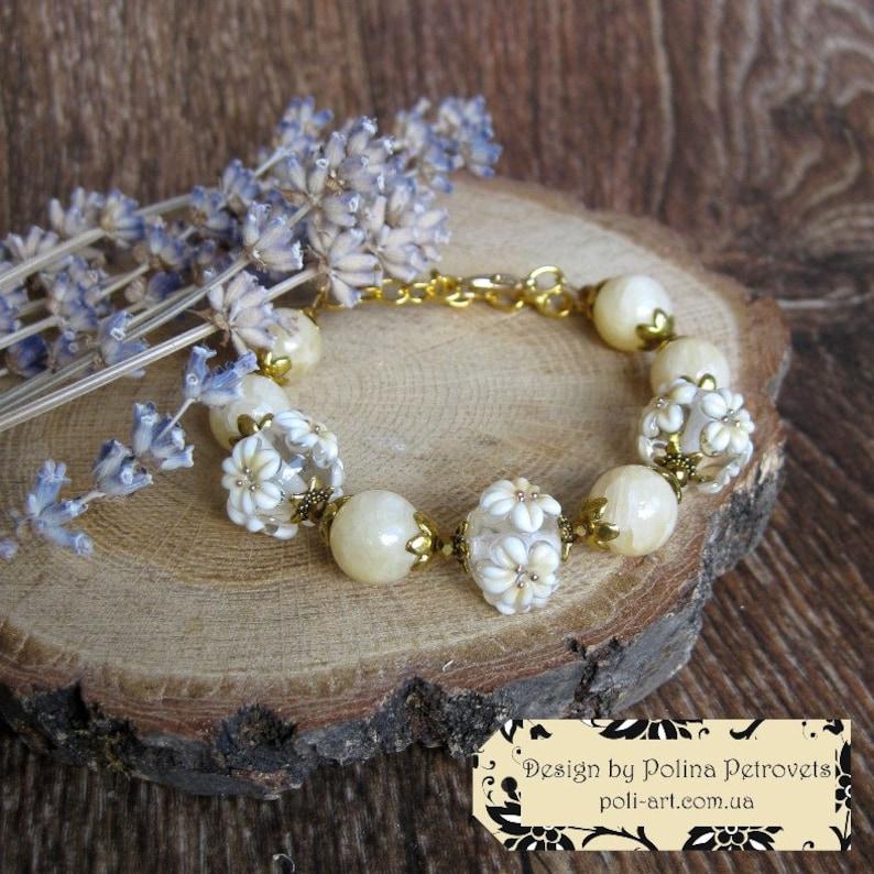 Wedding set for bride Ecru Jewelry Milk color Bracelet White Earrings pearl color jewelry Cream color bracelet Retro wedding day gift