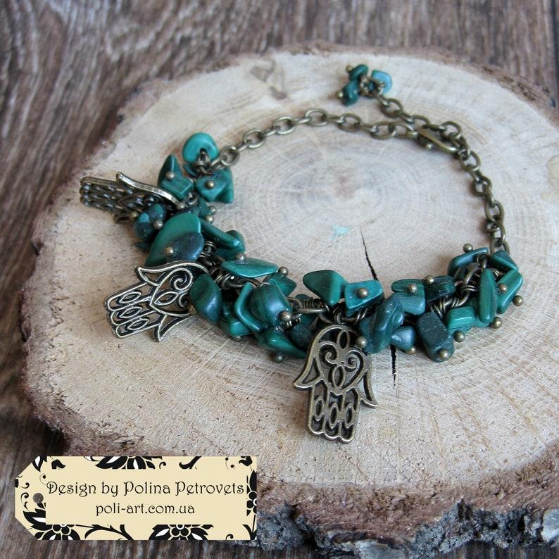 Hamsa Bracelet Malachite Khamsa Green Bracelet Humes hand Hand of Fatima bracelet Hand of miriam jewelry Hand of protection gemstone  gift