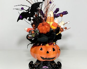 Happy Ceramic Pumpkin Halloween Tall Centerpiece, Fun Party Decoration Halloween Kid Friendly Arrangement, Handmade, Present, Gift, New
