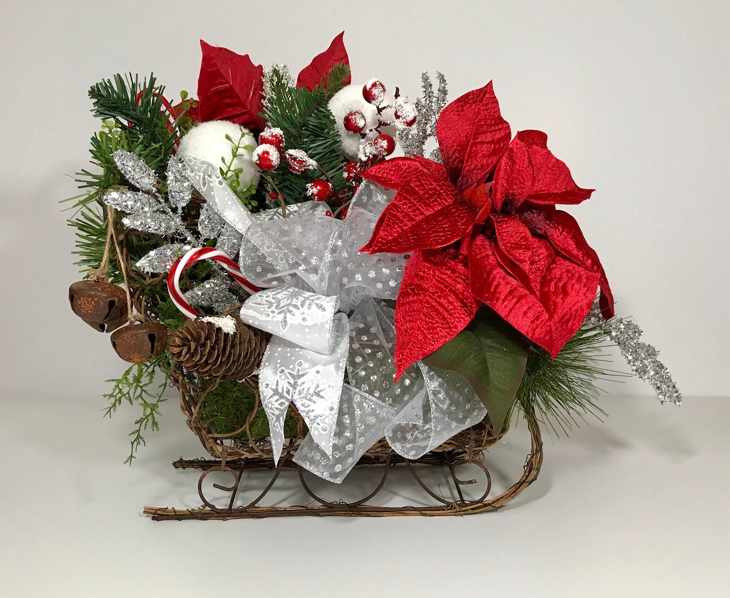 Wicker Christmas Sled Centerpiece Sleigh Bells Holiday