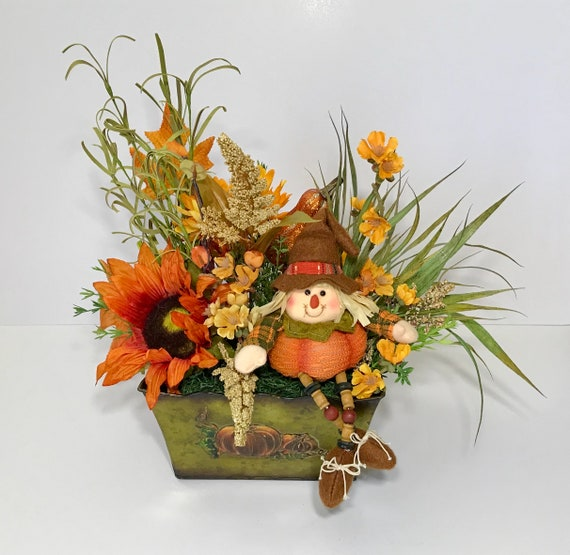 Fall Harvest Halloween Floral Arrangement Centerpiece Autumn Etsy
