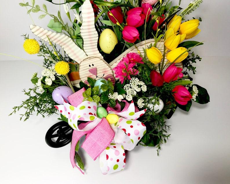 Eggs Large Floral Centerpiece Table Office Decoration Wooden Easter Bunny Rabbit Wheelbarrow Easter Celebration Spring Tulips Arrangement