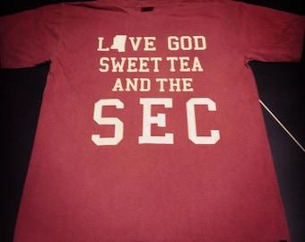 3d30b7174 Love God Sweet Tea And The SEC Comfort Color T-Shirt