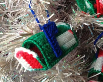 Mailbox Christmas Ornaments, Red Green White Variegated, Plastic Canvas