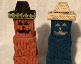 Pumpkin Jack-o-lantern Stacker, Unique Halloween Decoration, Plastic Canvas