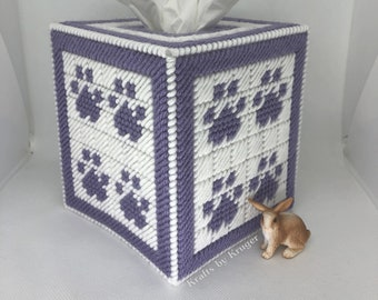 Purple Paw Plastic Canvas Tissue Box Cover