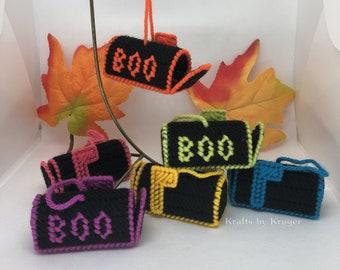 Halloween Mailbox Ornaments, Neon Colours, Plastic Canvas