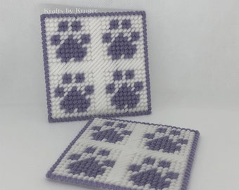 Purple Paw coaster, four paw design, yarn on plastic canvas