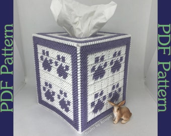 PDF: Purple Paw Tissue Box Cover, Plastic Canvas Pattern
