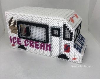 Ice Cream Truck, Plastic Canvas, Coin Bank