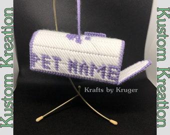 Purple Paw Mailbox Ornament (large), Personalized Pet Name, Kustom Kreation, Plastic Canvas