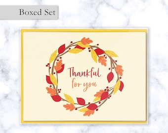 Fall Boxed Card Set - Thankful for You Fall Greeting Cards with Wreath of Leaves, Set of 4 Folded Cards with Yellow Envelopes Included