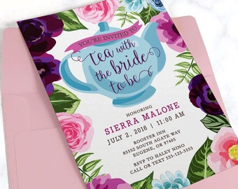 Floral Bridal Shower Tea Party Invitation on Premium Matte White Paper Stock with Envelopes Included