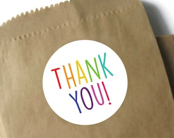 """Rainbow Thank You Stickers - 3"""" Round Matte or Glossy Stickers - Sheets of 6 Colorful Stickers"""