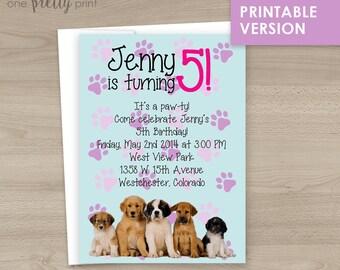 Adorable Puppy Party Birthday Invitations - Printable Version!