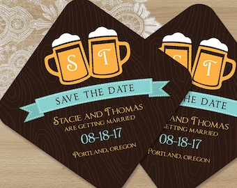 """Brewery Save the Date Coasters with 2 Beer Mugs - Ultra Thick 4"""" Paper Coasters with Rounded Corners"""