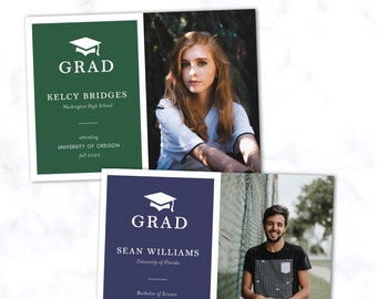 Minimal Graduation Photo Announcement Card with Custom Background Color and Envelopes Included