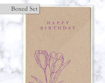 Birthday Cards Boxed Set of 4 Cards and Envelopes - Floral Folded Birthday Cards with Purple Tulips on Kraft Paper with Cream Envelopes