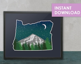 Oregon Mountain Digital Illustration Art Print - Printable, Digital Art